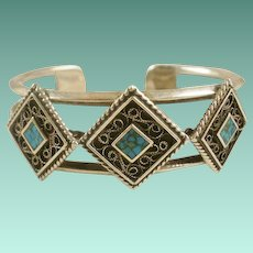 Heavy Sterling Turquoise Cuff Bracelet