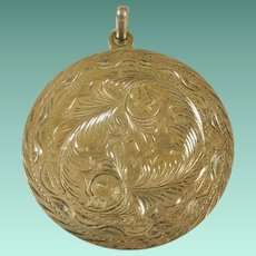 Huge Artist Marked Sterling Mexico Etched Pendant