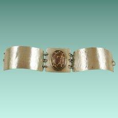 Sterling Modernist Hand Crafted Art Glass Bracelet
