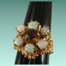 Gorgeous Retro Era 14K Opal Garnet Ring