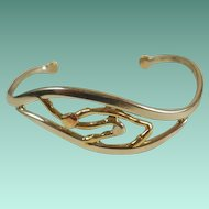 Modernist Signed Alan Mixed Metals Cuff Bracelet