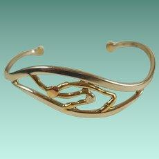 Modernist Signed Alan Mixed Metals Cuff Bracelet