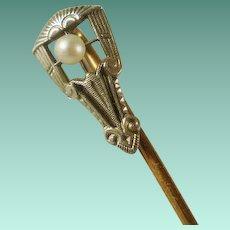 14k Platinum Top Art Deco Era Pearl Stick Pin