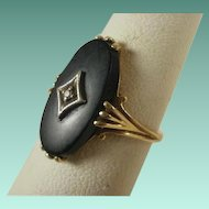 Vintage 10k Matte Onyx and Diamond Ring 6 1/4