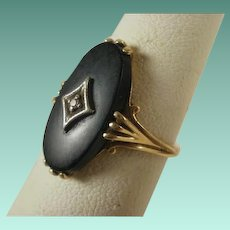 Vintage 10k Matte Onyx and Diamond Ring 6 1/4
