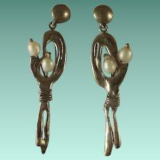 Sterling Modernist Fresh Water Pearl Figural Earrings