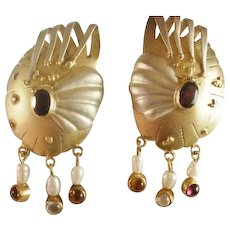 Large Sterling & Gold Plated Modernist Pierced Earrings