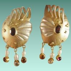 Large Sterling & Gold Plated Modernist Pierced Earrings
