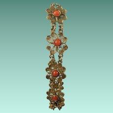800 Silver Coral Filigree Bracelet