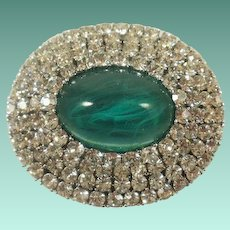 Excellent Trifari Gripoix Emerald-Poured Glass and Rhinestone Brooch