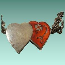 Vintage 970 Silver Enamel Heart Bracelet