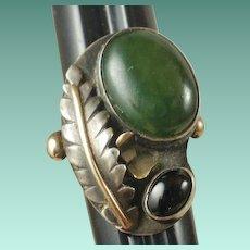 Unusual Silver & 10k Gold Handmade Ring