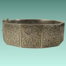 Victorian Chester England Sterling Etched Bangle Bracelet Nice Size!