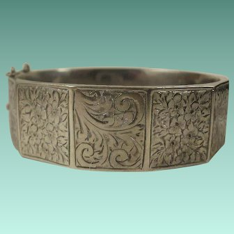 Victorian Chester England Sterling Etched Bangle Bracelet Nice Size!