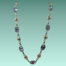 Excellent Amco Sterling Blue Topaz-Glass Necklace