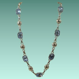 Excellent Amco Sterling Blue Topaz-Glass Necklace