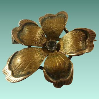 Victorian Gold Washed Paste Pansy Brooch