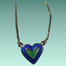 """Vintage """"Mod"""" Sterling Enamel Heart Necklace"""