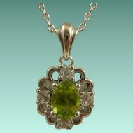 Sterling  Peridot CZ Pendant on Sterling Chain