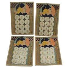 4 Complete Art Deco MOP Buttons on Original Cards