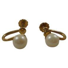14k Gold Filled Cultured Pearl Screw Back Earrings.