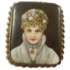 Stunning Hand Painted Art Deco Era Porcelain Brooch