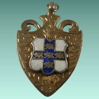 Uttley & Co Birmingham Sterling Enamel Shield Fob