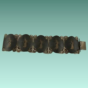 Very Wide Sterling Siam Niello Enamel Bracelet