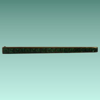 Art Deco Era Square Cut Green Rhinestone  GF Bar Pin.