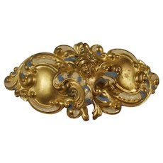 Vintage Brass Enamel Putti Cherub Belt Buckle