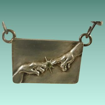 "Sterling ""Creation of Adam"" Studio Made Pendant Necklace"