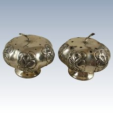 Vintage Mexican Sterling Silver Repousse Gourd Salt & Peppers