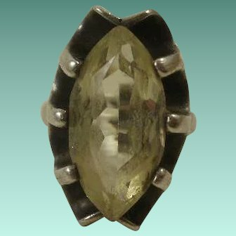 Large Citrine Glass Sterling Mexico Ring ~ 7 1/2