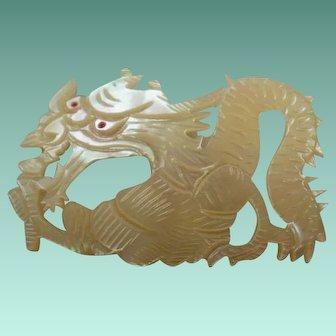 Large Vintage Carved MOP Dragon Brooch