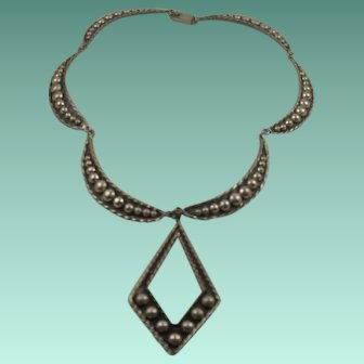 Fabulous Vintage Large Sterling Mexico Necklace