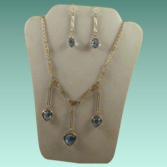 Vintage Gold Filled Blue Topaz Necklace and Earring Set