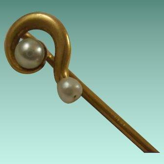 Victorian 14k Cultured Pearl Question Mark Stick Pin