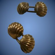 "10k Victorian Era ""Puffy"" Shell Cuff Links"