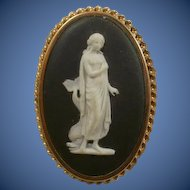 Fabulous Large Wedgwood Goddess Pendant Brooch
