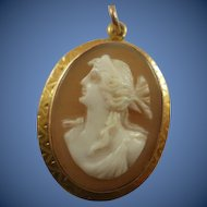 Finely Carved 10k Yellow Gold Carved Shell Cameo Pendant