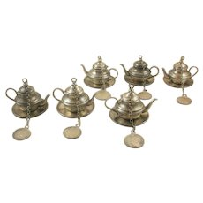 Set of Six Coin Silver Tea Pot Infusers with Chain and Silver Columbia Coin