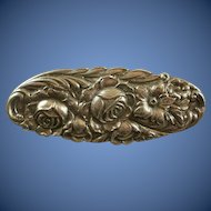 Repousse Sterling Silver Cabbage Rose Brooch