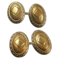 Art Deco Era 10k White and Yellow Gold Patterned Cuff Links