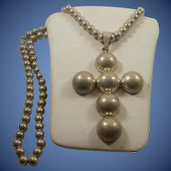 Gigantic Sterling Mexico Cross Pendant on Large Sterling Bead Chain