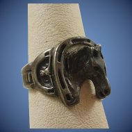 Vintage Sterling Silver Horse and Steer Ring ~9