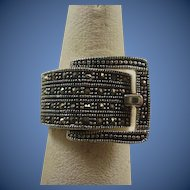 Sterling Silver Marcasite Buckle Style Ring