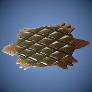 Excellent Extra Large Vintage Bakelite Wood Turtle Brooch