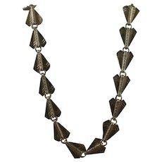 Art Deco Egyptian Revival Arrow Link Silver Over Brass Necklace