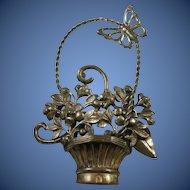 Large Sterling Silver Butterfly on Flower Basket