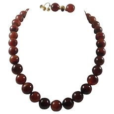 Art Deco Graduated Natural Agate Bead GF Necklace and Earring Set